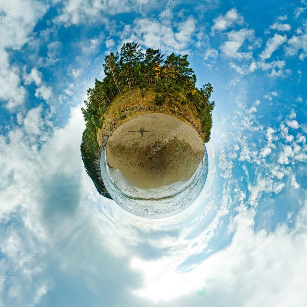 Stereographic panorama of Lake Baikal from the beach rocks in projection a small planet