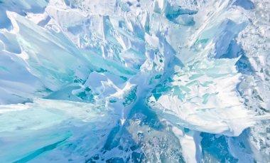 Blue ice hummocks Baikal stereographic panorama, Listvyanka