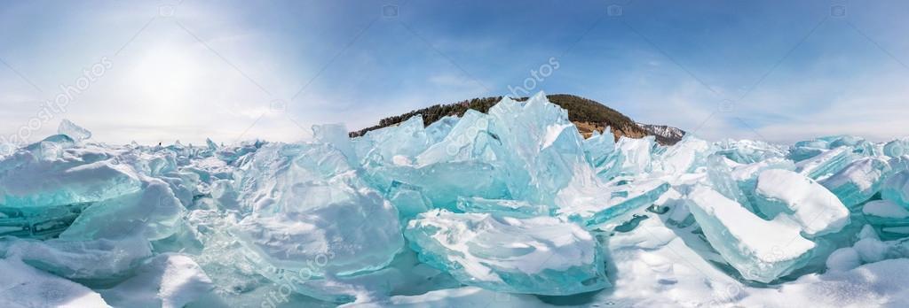 Hummocks of of lake baikal ice, panorama 360 degrees equirectang