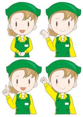 supermarket assistant woman expression set