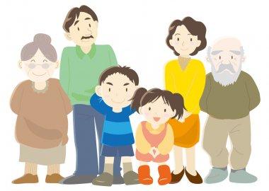 Happy families (parents, children and grandparent)