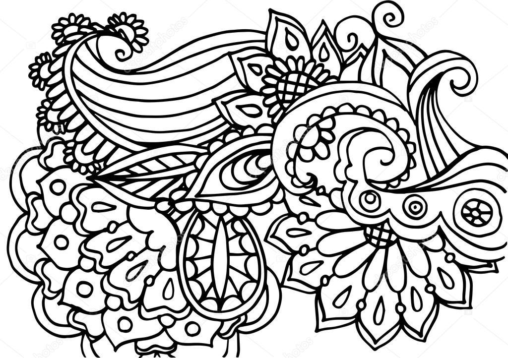 Vektör Sorunsuz Tek Renkli çiçek Desenli Elle çizilmiş çiçek Doku
