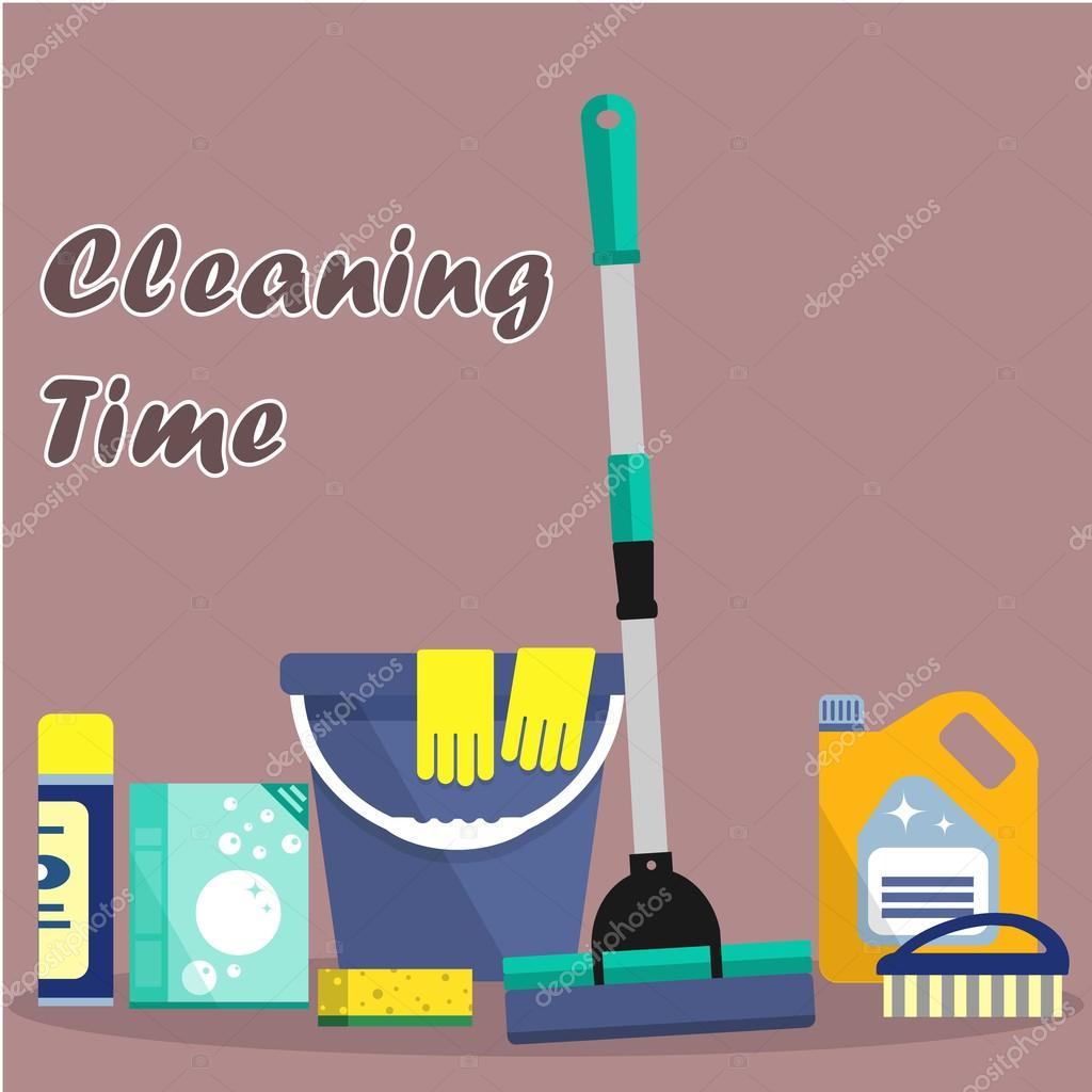 Cleaning Time Concept Stock Vector Irynaalex 114838624