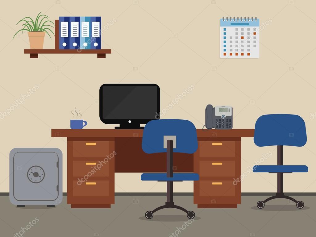 Fantastyczny Stanowisko pracy pracownik biurowy — Grafika wektorowa © Irynaalex TQ55