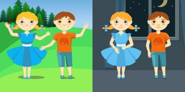 Vector Illustration of Sad and Happy Children. Boy and girl with different expressions. Kids joy on nature or fear in dark room.