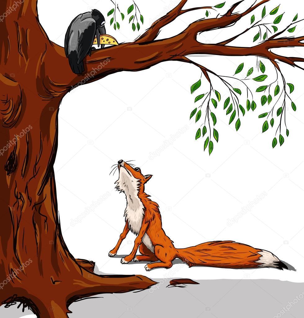 картинка сказки лиса и ворона черно белая просто
