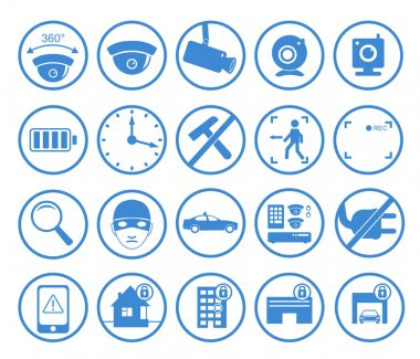 Vector set of video surveillance and security systems icons. Illustration of blue round protection signs.