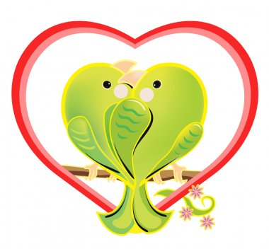 Vector illustration of a amorous green parrots. The romantic cartoon love birds sitting on a branch. Bright enamored birds couple in a heart shape on white background.