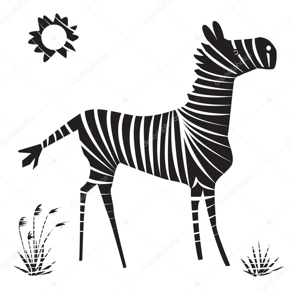 ゼブラのベクター イラストです。孤立した漫画白黒動物 — ストック