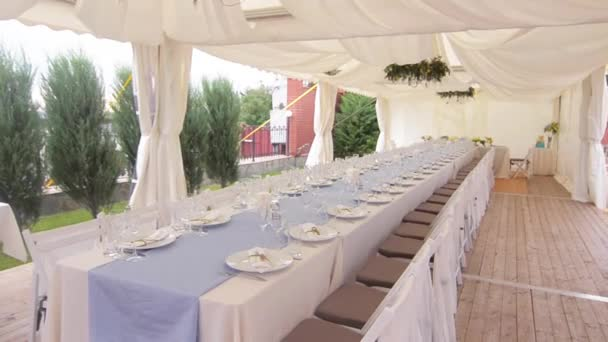 Decorated table for a wedding dinner, beautiful table setting