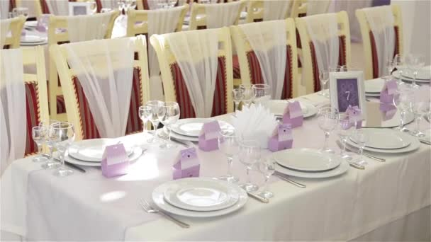 Decorated table for a wedding dinner beautiful table setting u2014 Stock Video & Decorated table for a wedding dinner beautiful table setting ...