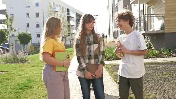 Négy vidám tinédzser osztálytárs könyvekkel a kezében az iskolaudvaron. Vissza az iskolába..