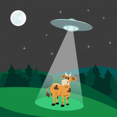 UFO landing. UFO abducts a cow