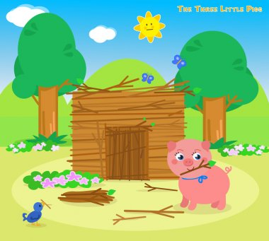 The three little pigs 5:  the sticks house. Vector