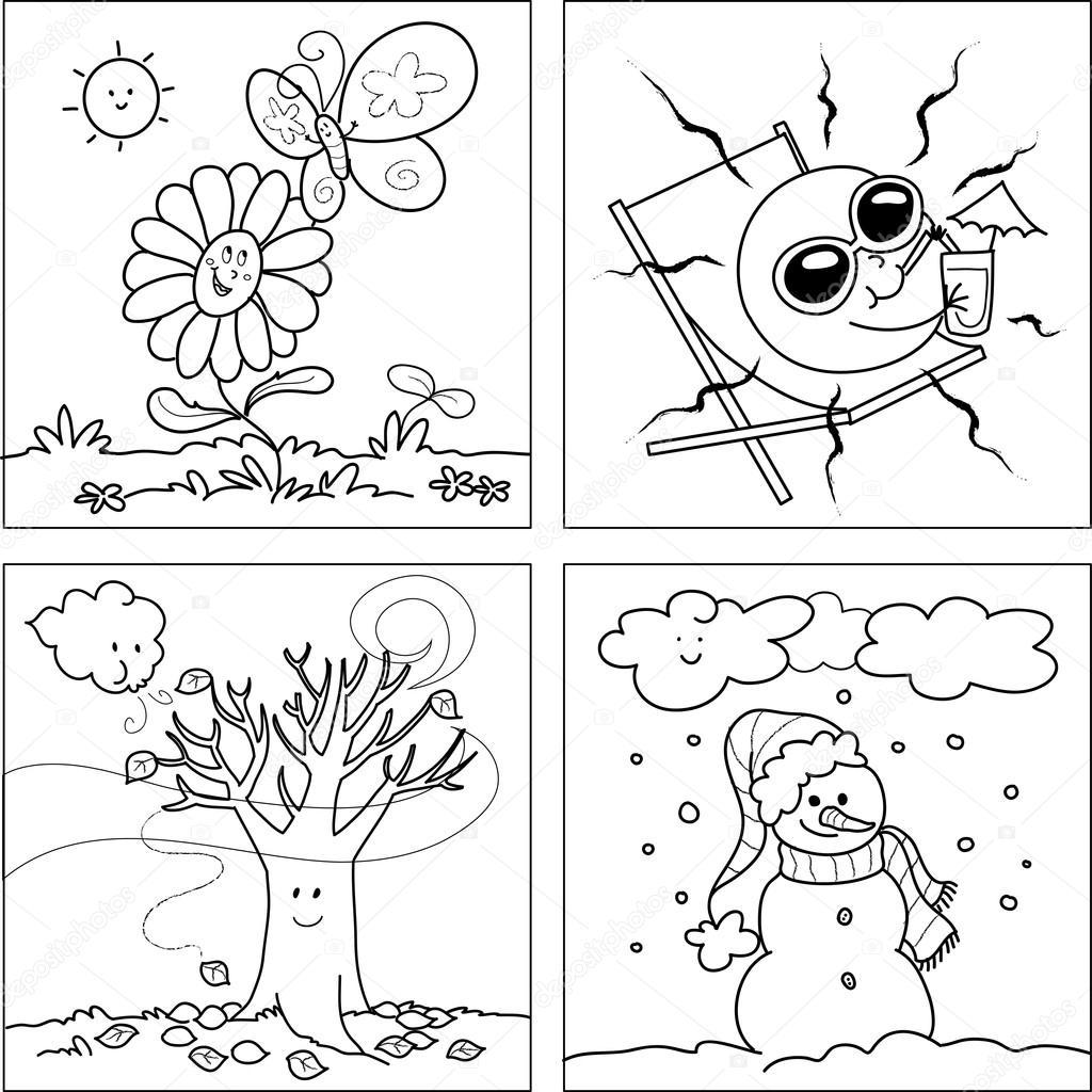 Im genes invierno verano oto o y primavera para dibujar cuatro estaciones para colorear - Dessin 4 saisons ...