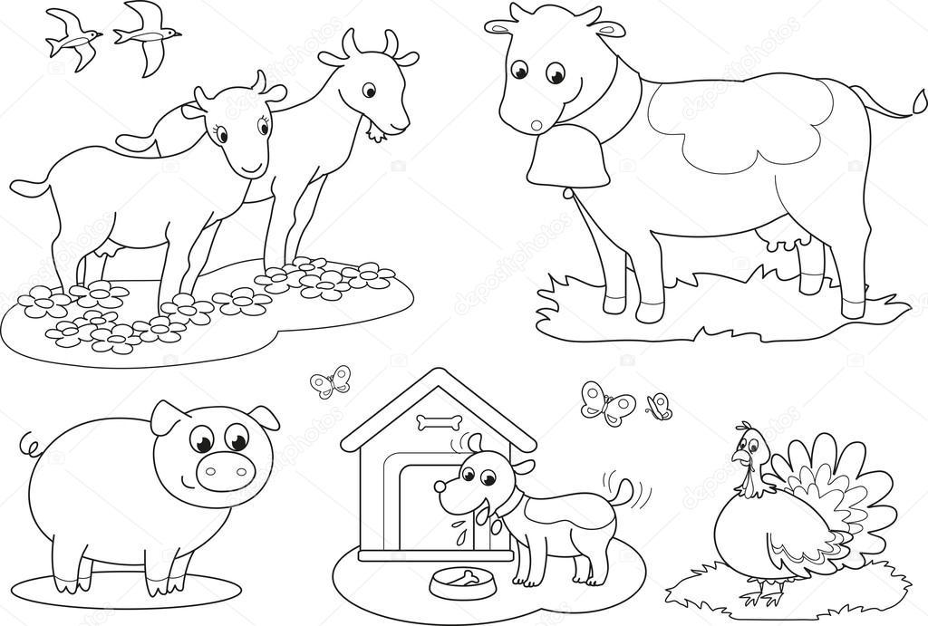 Animali della fattoria da colorare 2 vettoriali stock for Piani di fattoria di 2000 piedi quadrati