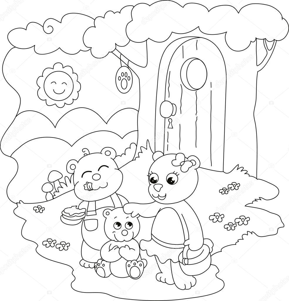 Lindos osos para colorear — Vector de stock © carlacastagno #110284474