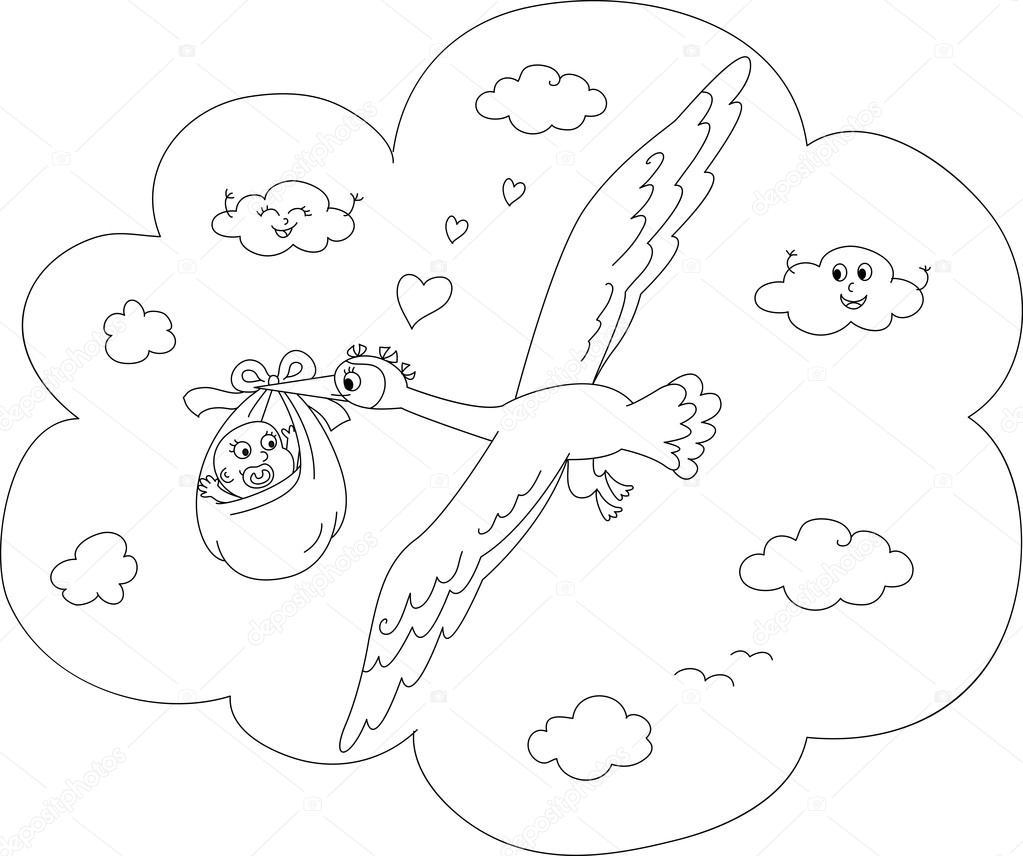 Para colorear cigüeña con bebé recién nacido — Archivo Imágenes ...