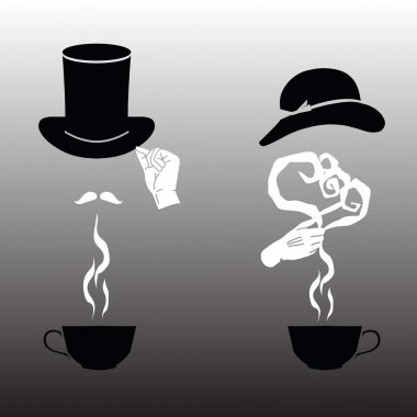 Vector Illustration - cup for him and a cup for her.