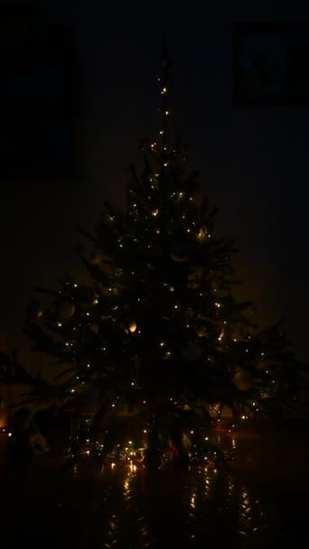 Vánoční ozdoby stromků. vánoční stromeček zhasíná a rozsvítí