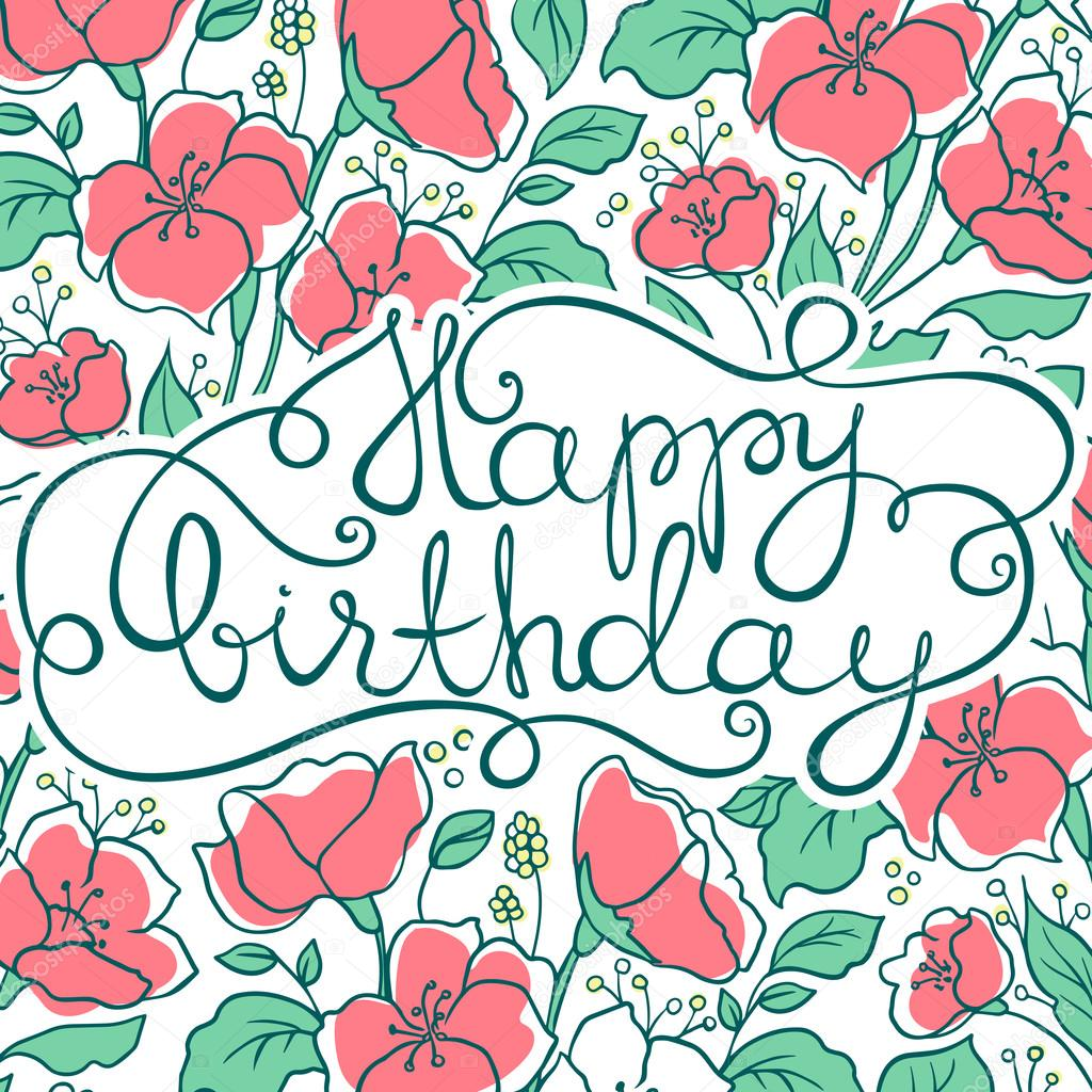 Birthday Card With Flowers Stock Vector Yanalesiuk 115226026