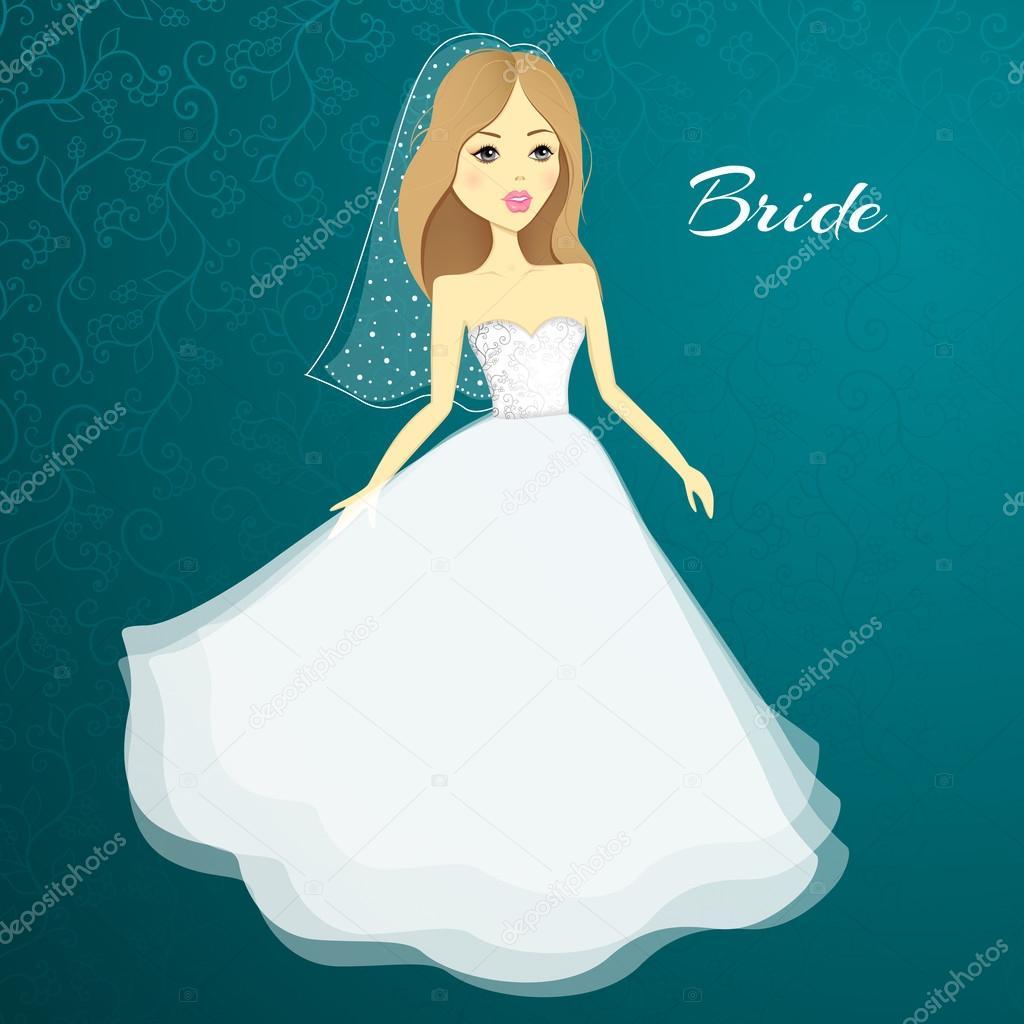 Beautiful girl in a wedding dress. Vector cartoon bride. Wedding ...