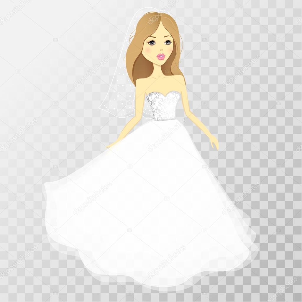 La muchacha en un vestido de boda en un fondo transparente. Vector ...