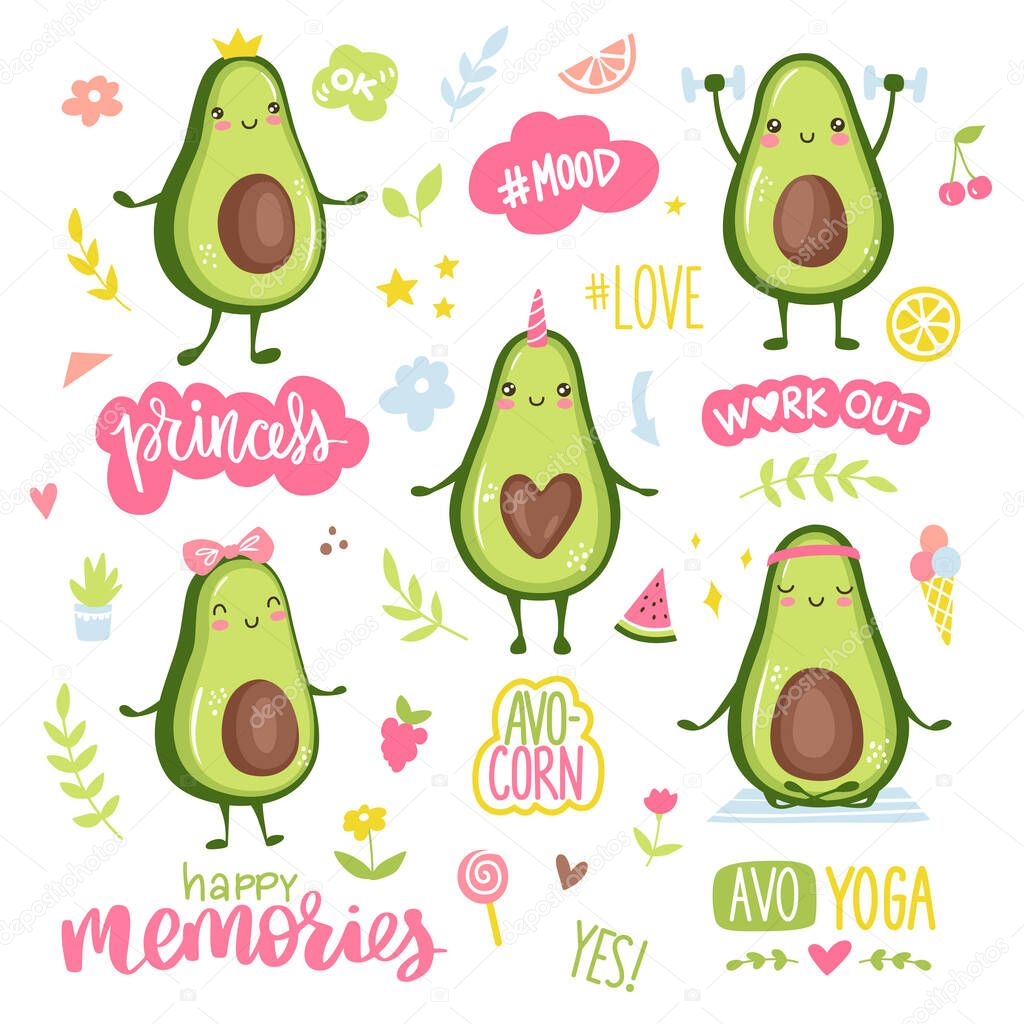 Cartoon avocado characters doing sport, yoga, workout, cute princess, unicorn and couple in love. Funny and happy fruits stickers collection. Lettering quotes, hearts, flowers, stars. icon