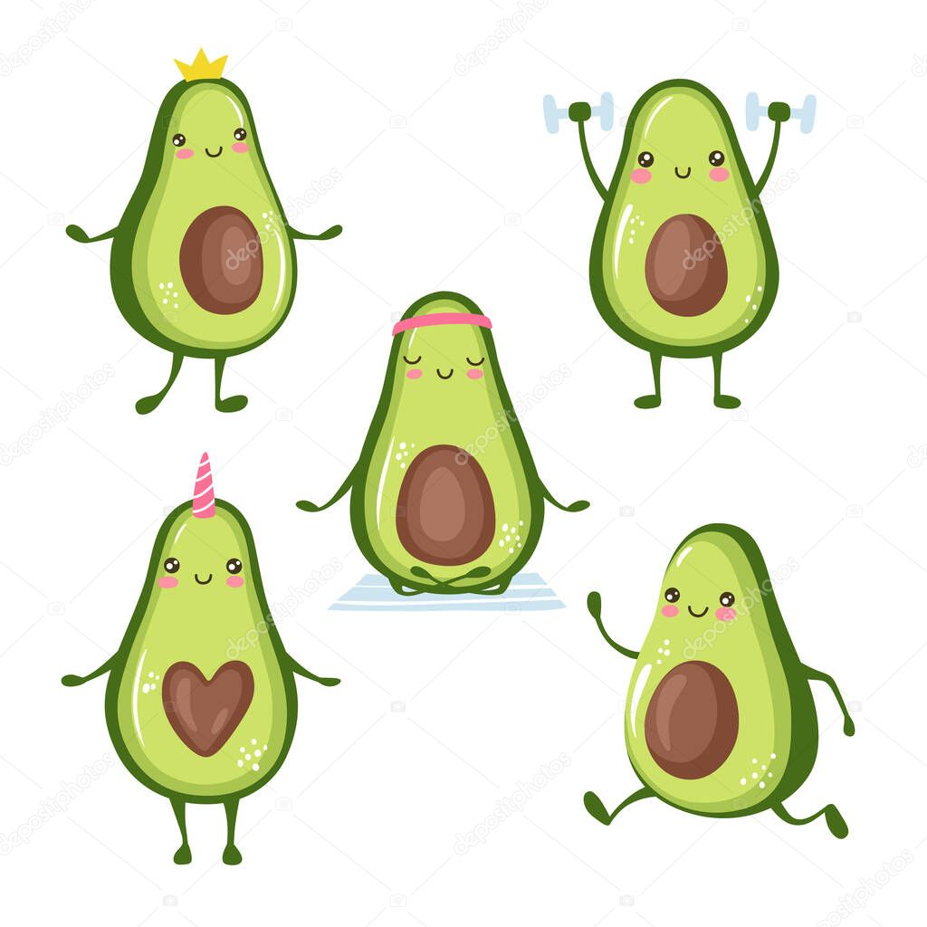 Cartoon avocado characters doing sport, yoga, workout, cute princess, unicorn. Funny and happy fruits stickers collection isolated on white background. icon
