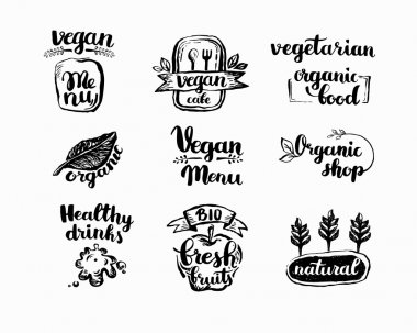 Hand-Drawn farm fresh logo set