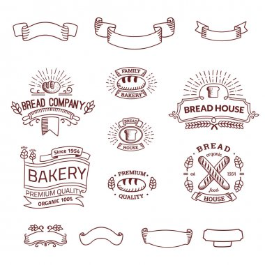 Retro set label of bread bakery