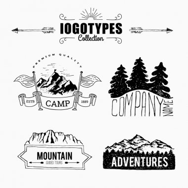 Retro collection of adventure labels