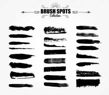 large set Ink brush grunge strokes