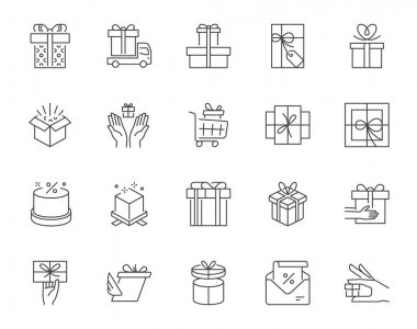 Collection of line art vector elements of different types of present boxes and gifts on white background. 256x256px. Editable stroke, easily scalable. icon