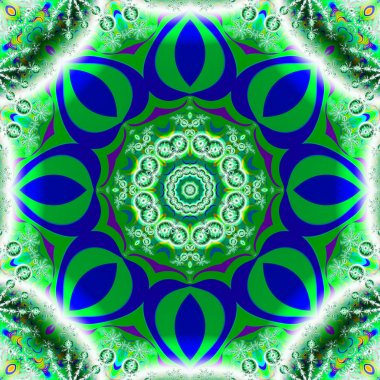 Blue and green octagonal fractal