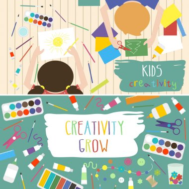 Kids creativity vector illustration. Top view with creative kids hands. Banner, flyer for kids art lessons or school