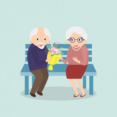 Old couple together. Seniors happy leisure. Grandpa and grandma sitting on the bench. Vector illustration.