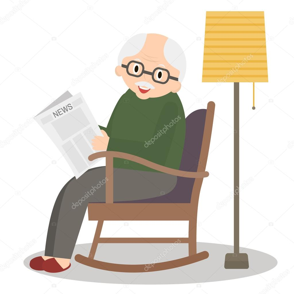 Grandfather sitting in rocking chair. Old man leisure time. Grandpa ...