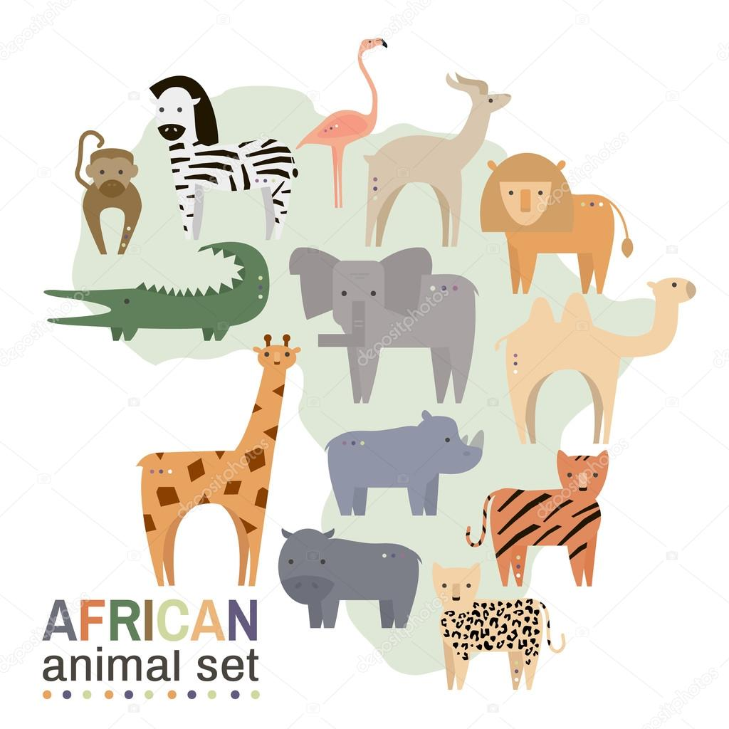 African animals in geometric flat style. Hippo, giraffe, flamingo, elephant, lion, monkey, giraffe, rhino, zebra,crocodile, lynx,gazelle, rhinoceros isolated on white. Vector illustration.