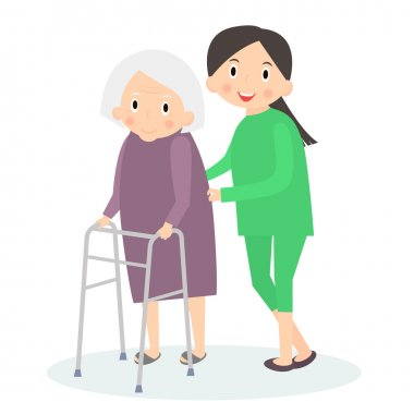 Caring for seniors, helping moving around. Elderly care. Vector illustration.