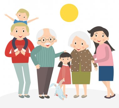 Happy family portrait. Father and mother, son and daughter, grandparents in one picture together. Family isolated on white. 3 generations together. Vector illustration.