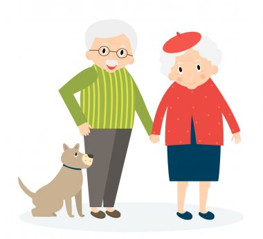Happy old couple together. Seniors couple with dog on walk. Vector Illustration