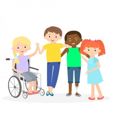 Disabled kids with friends. Handicapped children isolated on white. Special needs children with friends. Vector Illustration