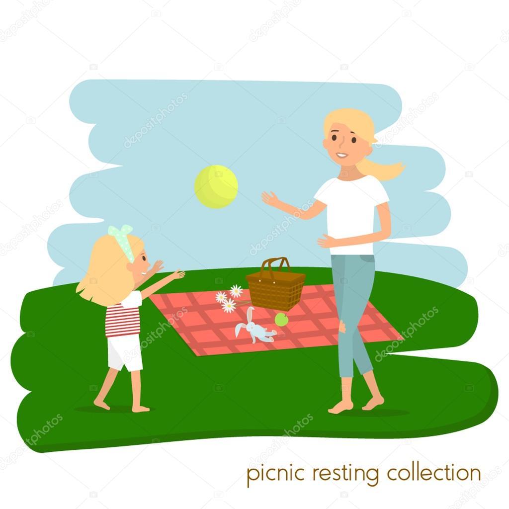 Aile Pikniği Dinleniyor Anne Ile Kızı Piknik üzerinde Yaz Tatili