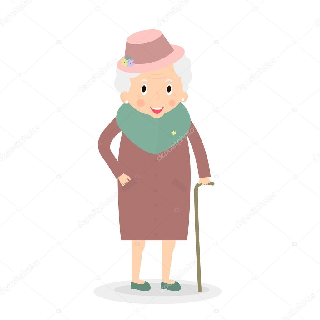 cute old woman with walking stick grandmother in hat senior lady on walk vector illustration. Black Bedroom Furniture Sets. Home Design Ideas