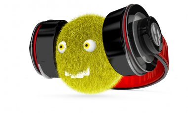 hair monster with big headphones on white background 3d render
