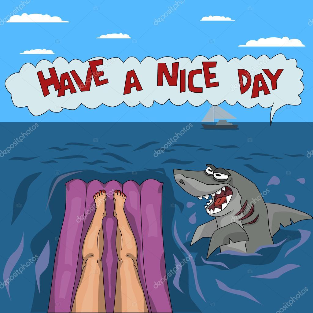 Funny shark attack — Stock Vector