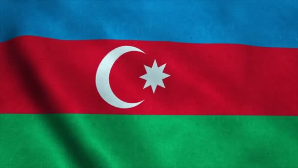Realistic Ultra-HD flag of the Azerbaijan waving in the wind. Seamless loop with highly detailed fabric texture