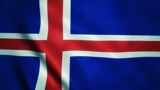 Realistic Ultra-HD flag of the Iceland waving in the wind. Seamless loop with highly detailed fabric texture