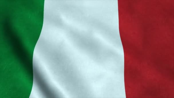 Realistic Ultra-HD flag of the Italy waving in the wind. Seamless loop with highly detailed fabric texture